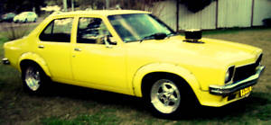 Yellow 1975 Holden Torana LH drag car